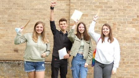 Soham Village Collegestudents with their GCSE results