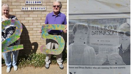 Susan and Brian Barker of Hillrow Day Nursery in Haddenham on its 25th birthday