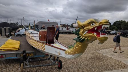 Dragon boats have been in Woodbridge as part of the Deben Summer Festival