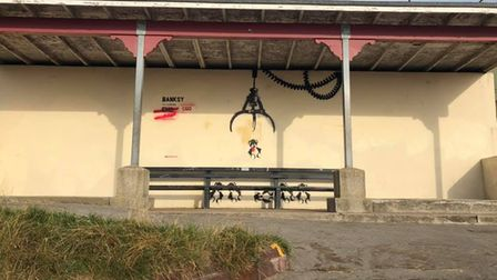 A potential Banksy artwork on Gorleston seafront has been defaced.