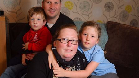 Sarah McAllister with her partner Lee Effemy and two of her children Sid and Elsie-Mai.