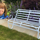 Annabel Payne, inset, with one of her benches