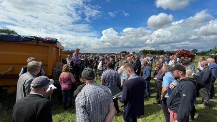 Buyers gather at Cuckoo Tye Farm inActon near Sudbury for the farm dispersal sale following the death of Peter Miller