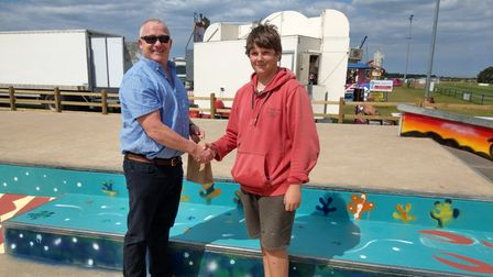 Alderman Peel High School principal Alastair Ogle withMax Zebedee after the painting of the skatepark in Wells was finished.