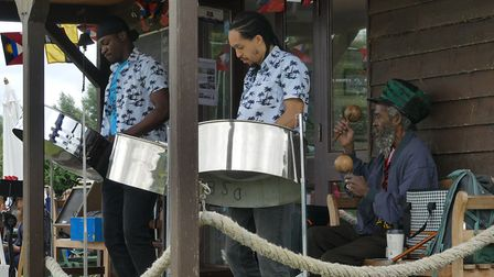 The steel pan band at the celebrations.