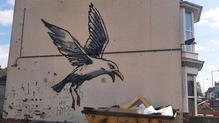 The seagull created by Banksy in Lowestoft.