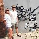 Nicky Fensome and Paul Fensome travelled up from Diss to see the Banksy pieces in Lowestoft