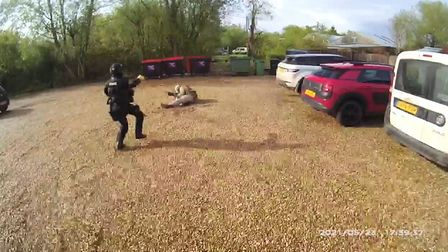 Body worn video footage of armed police being faced by Simon Tait with an imitation firearm at Surlingham in May this year.