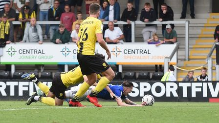 Louie Barry wins a second half penalty for Ipswich at The Pirelli Stadium.