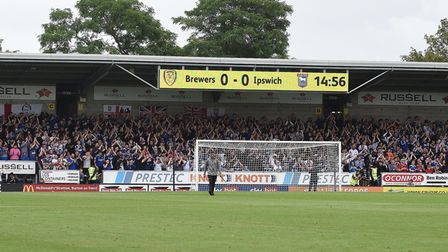 The travelling supporters at The Pirelli Stadium.