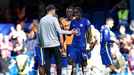 Chelsea manager Thomas Tuchel (left) congratulates Trevoh Chalobah at the end of the Premier League