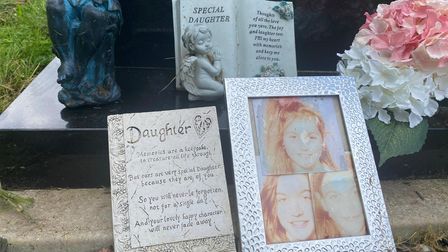 Some tributes to Michelle Bettles left by her grave at Earlham Cemetery in Norwich.