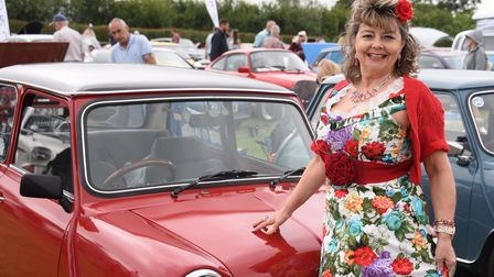 Lucy Grimley of the Foxyrock Dance Club, ready to dance at the classic car show at Stonham Barns. Pi