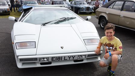 Ashley Hernandez, eight, is thrilled to see a Lamborghini Contach at the classic car show at Stonham