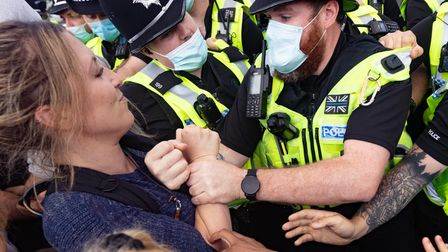 Police and Protesters clash at MBR Acres Camp Beagle where beagles are reared for viisection.,MBR A