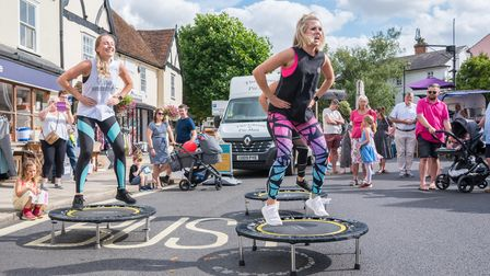 Women exercising on mini trampolines, members of Bounce Dunmow and Flitch Green, Essex