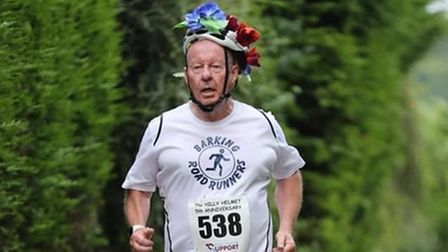 Barking Road RunnersRob Courtier at the Hilly Helmet charity race in Wiltshire