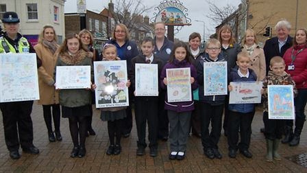 Pupils from Forest Academy and Glade Primary with Reg Silvester, Suffolk County councillor for Brand