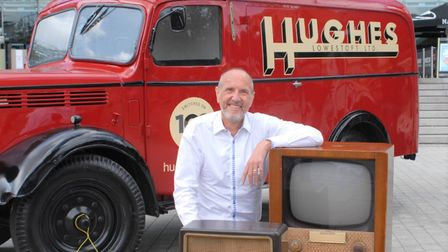 Robert Hughes and the special van recreated to celebrate Hughes Electricals' 100 years in business.