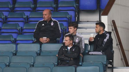 Ipswich Town boss Paul Cook watches on during the Under 23s game with Coventry