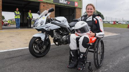 Disability pioneer Claire Lomas at Snetterton race track where she went out on her specially adapted