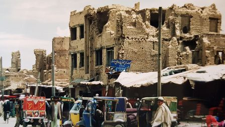 Aftermath of war in Kabul in 2002.