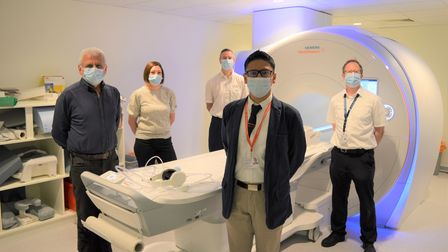 Dr Pankaj Garg (front)and the team behind the new4DflowMRI scan research at theNorfolk and Norwich University Hospital