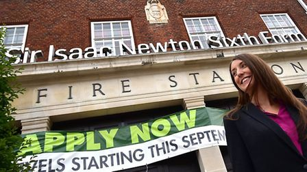 A-levels results day at Sir Isaac Newton Sixth Form. Headteacher Rebecca Handley-Kirk.Picture: ANTON