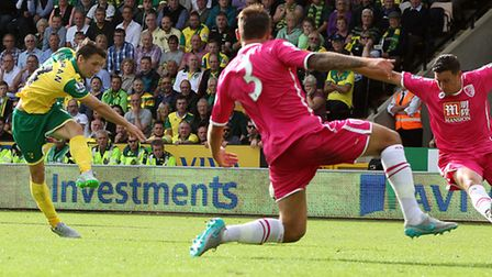Wes Hoolahan scores Norwich City's second against Bournemouth when the two teams met at Carrow Road