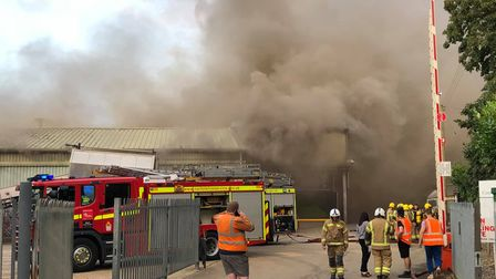 Smoke billowing out from the factory in Eye