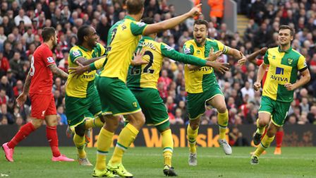 Russell Martin celebrates his equaliser the last time Norwich City played Liverpool. Picture: Paul C