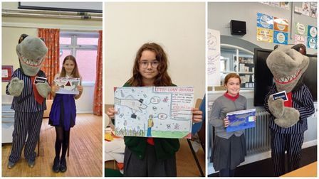 Year six pupils Keira Ridgway (left), Wiktoria Rozek (middle) and Lily Brand (right) won the 'Stop Loan Sharks Project.