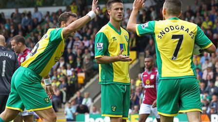 There was a dispute between the Norwich City players over who would take a penalty against Aston Vil