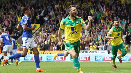 Wes Hoolahan celebrates his goal in the play-off semi-final victory over Ipswich Town at Carrow Road