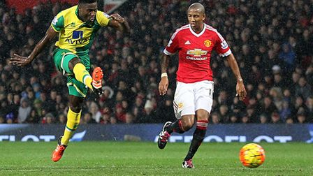 Alex Tettey scores the winner at Manchester United. Picture: Paul Chesterton/Focus Images