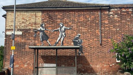 A Banksy artwork on Admiralty Road in Great Yarmouth