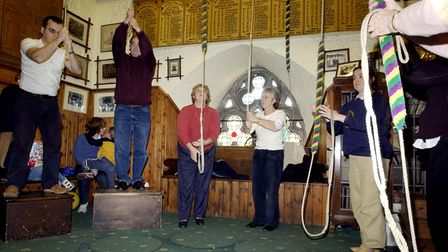 Bell ringers at St. Mary Le Tower church in the centre of Ipswich in 2004