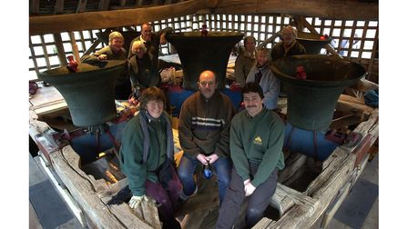 St Mary's church bell ringers at East Bergholt pictured with the refurbished bells in 2002