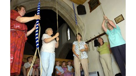 A bell ringing taster at Sproughton Church in 2007