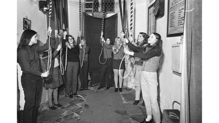 Eight girls from Horringer, including three pairs of sisters, were all part of the bell-ringing team at St Leonard's Church