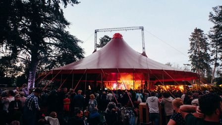 Crowds enjoying the Red Rooster Festival at Euston Hall near Thetford