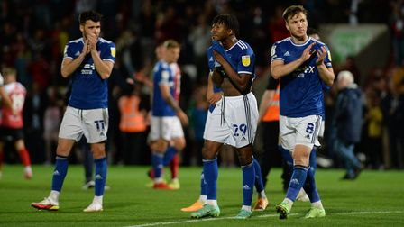 Town players after losing at Cheltenham Town.