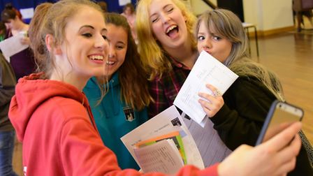Time for a selfie for GCSE students as they get their results at Wymondham High Academy.Picture by S