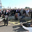 Cambridgeshire county councillor Ian Bates opens the guided busway