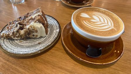 The passion cake and latte at Wright's Cafe in Bury St Edmunds