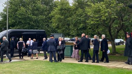 Guests walked from the prison, through the town's nature reserve and down to the memorial site. PICTURE: Katie Woodcock
