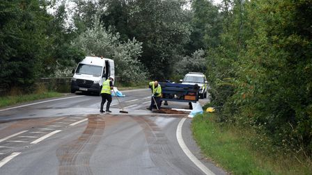 Lorry overturned in Ixworth Picture: CHARLOTTE BOND