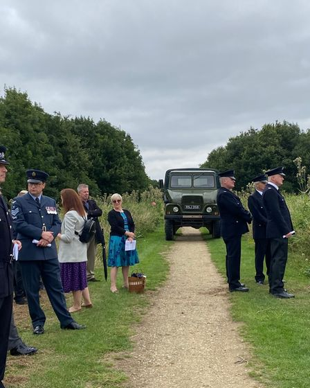 A number of guests travelled to the memorial site in an old French War vehicle that the prison had hired for the day.
