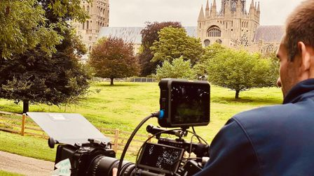 Film crews shooting new movie 'Harvey Greenfield is Running Late' outside Ely Cathedral