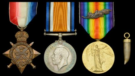 Undated handout photo issued by auction house Dix, Noonan, Webb of a group of medals won by Major Fr